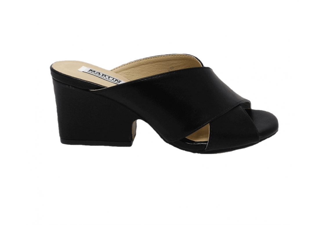 Sandały damskie z eko-skóry modelu easy-on - czarny - 1