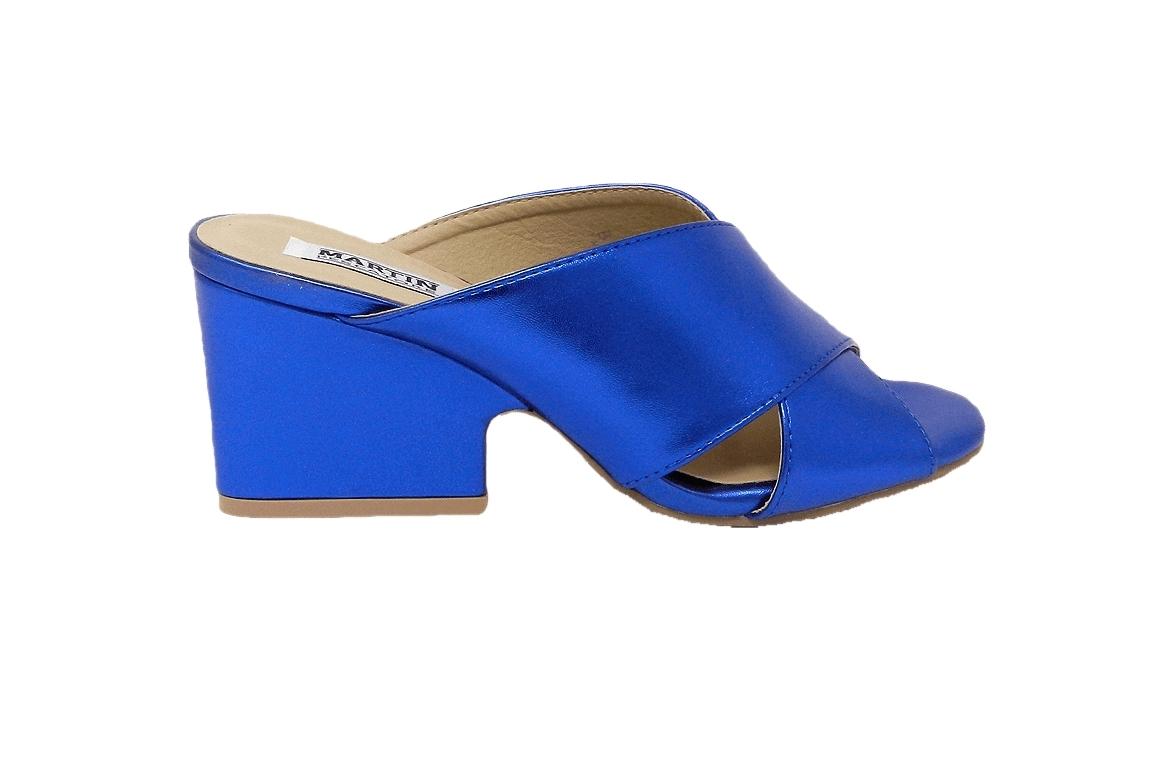 Sandale femme en éco-cuir modèle facile-sur - bleue - 1