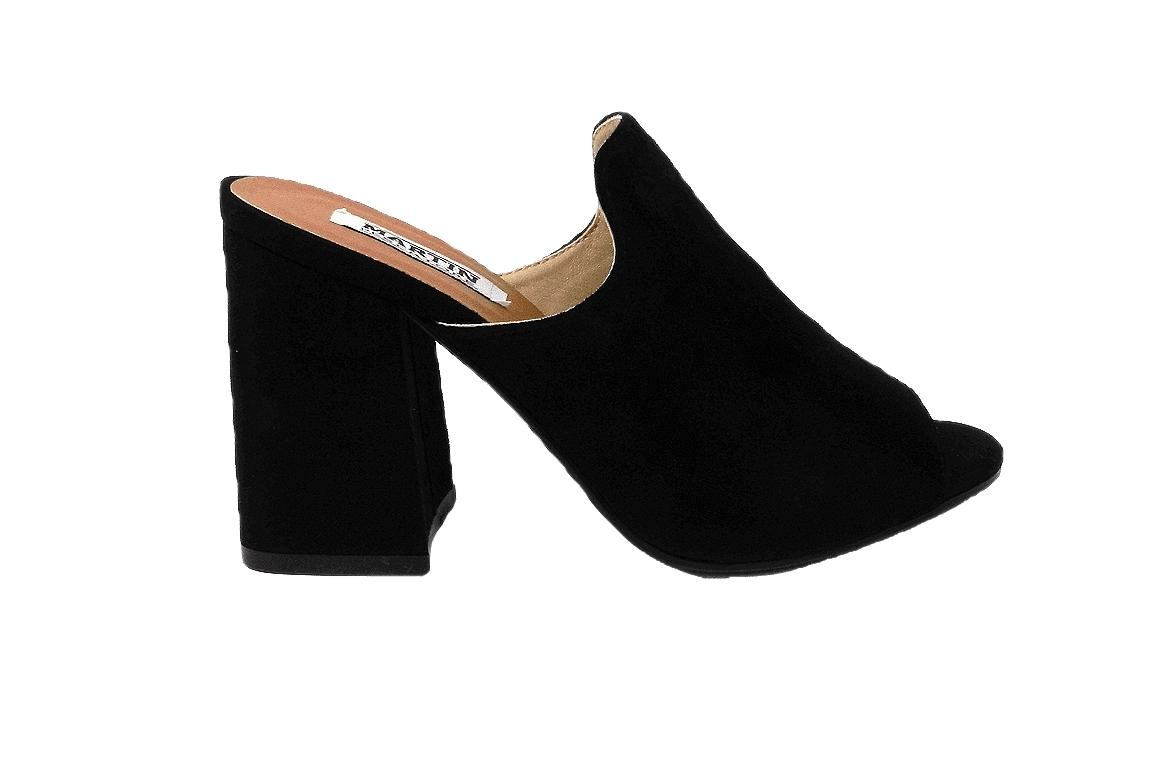 Sandalo in ecopelle scamosciata, modello easy-on - nero  - 1