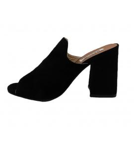 Sandalo in ecopelle scamosciata, modello easy-on - nero  - 5