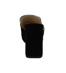Sandalo in ecopelle scamosciata, modello easy-on - nero  - 6