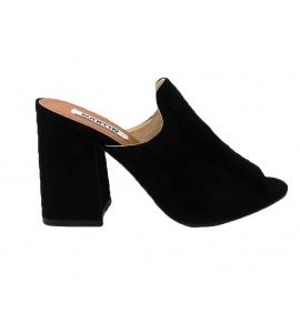 Sandalo in ecopelle scamosciata, modello easy-on - nero  - 7