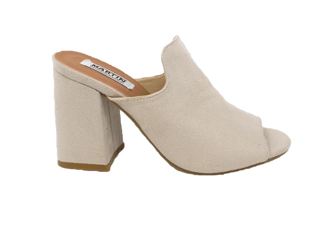 Sandalo in ecopelle scamosciata, modello easy-on - beige  - 1