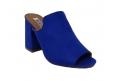 Sandalo in ecopelle scamosciata, modello easy-on - blu  - 2