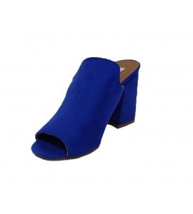 Sandalo in ecopelle scamosciata, modello easy-on - blu  - 3