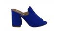 Sandalo in ecopelle scamosciata, modello easy-on - blu  - 1