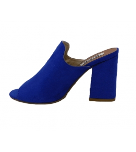 Sandalo in ecopelle scamosciata, modello easy-on - blu  - 5
