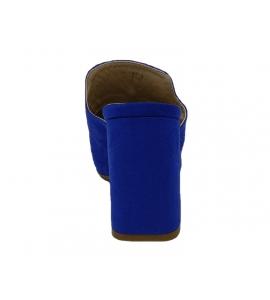 Sandalo in ecopelle scamosciata, modello easy-on - blu  - 6