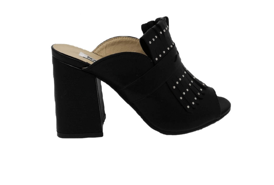 Shoe easy-on, with fringes and small studs - black - 1