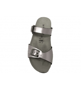 Ciabatta argento linea sportiva in ecopelle vernice  - 6