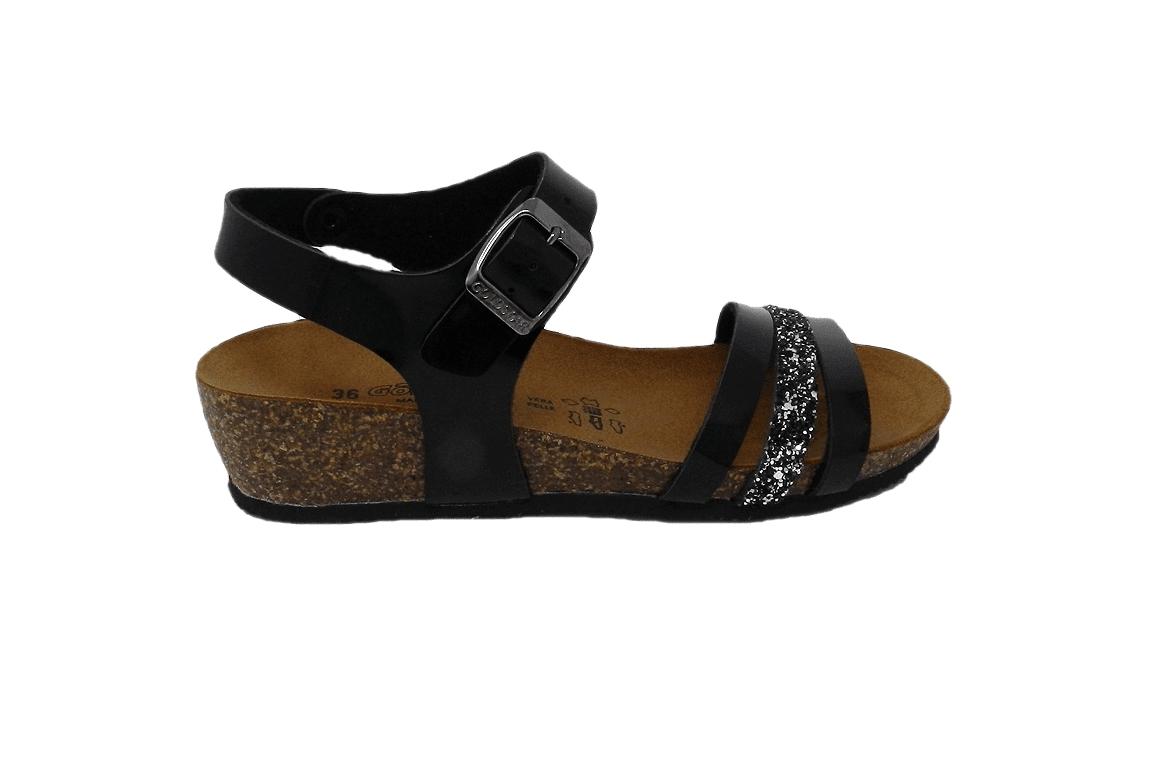 Pantoufle femme en faux cuir avec paillettes - noir - 1