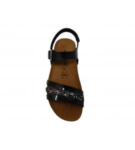 Ciabatta donna in ecopelle con glitter - nero  - 3