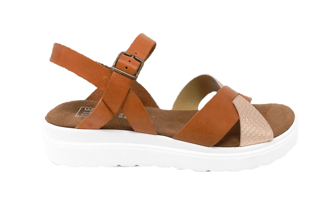 Sandalo donna in vera pelle linea sportiva - cuoio  - 1