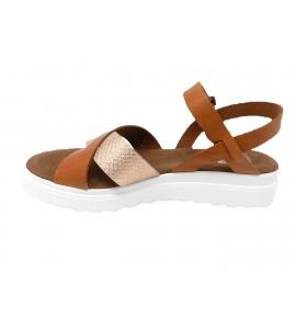 Sandalo donna in vera pelle linea sportiva - cuoio  - 5