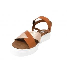 Sandalo donna in vera pelle linea sportiva - cuoio  - 4