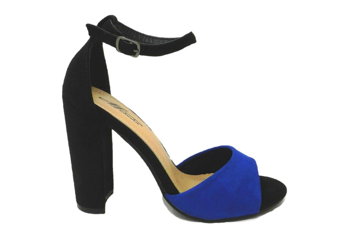 05751a8717ac1c Séduisante sandale femme faux cuir velours bicolore - noir-bleuet bleu