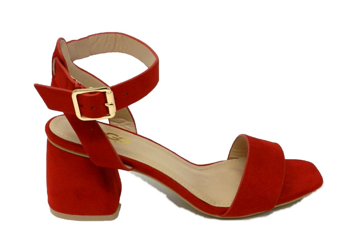 Confortable Faux Femmes Sandale Daim Rouge xhtsQrdBCo