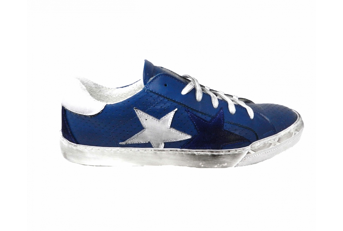 Style shoes sneaker men's leather dipped - blue - 1
